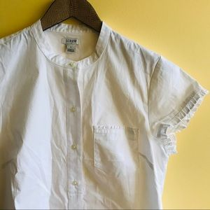 J. Crew white button down with ruffle trim